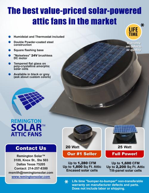 U2022remington Solar Attic Fan Features
